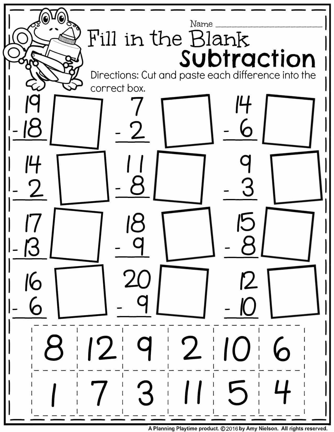 5 Free Math Worksheets First Grade 1 Subtraction Single