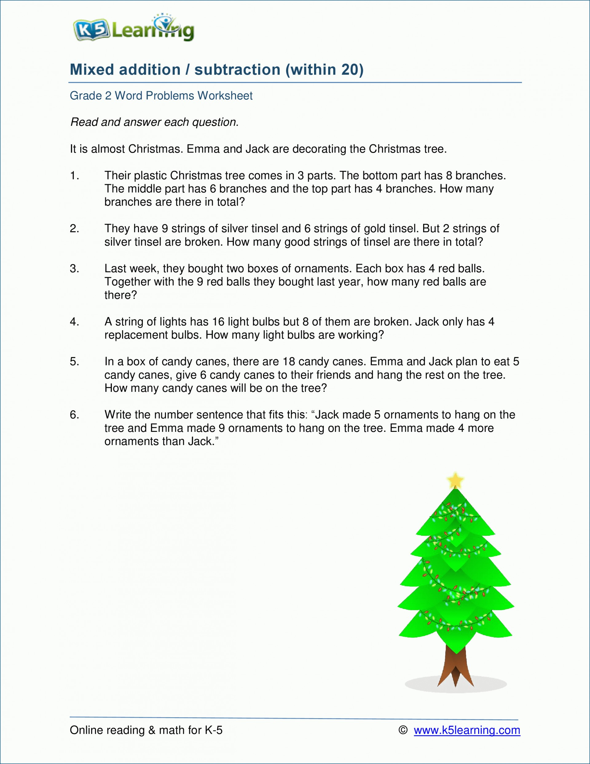 5 Free Math Worksheets Second Grade 2 Word Problems