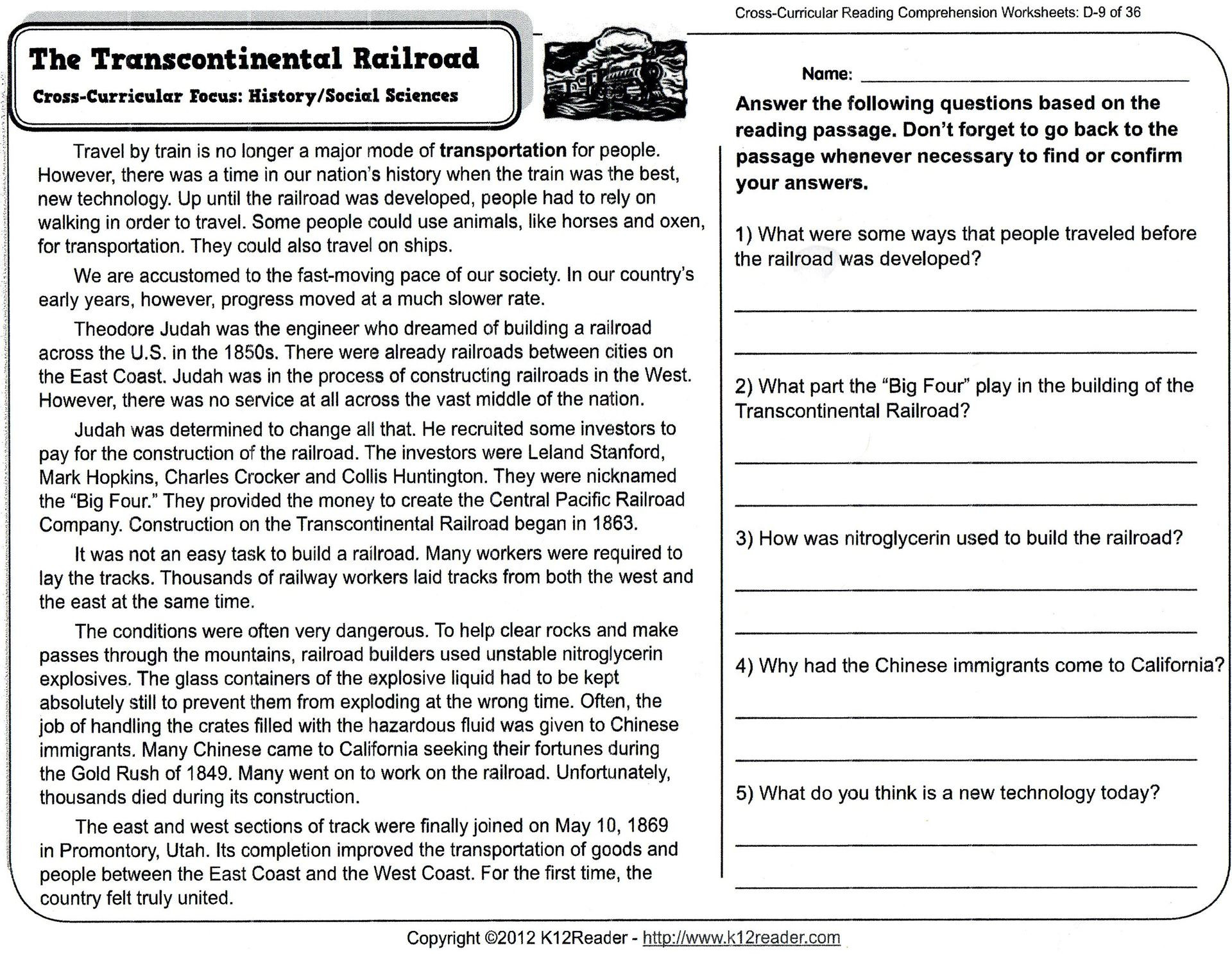 5 Reading Comprehension Worksheets Fourth Grade 4