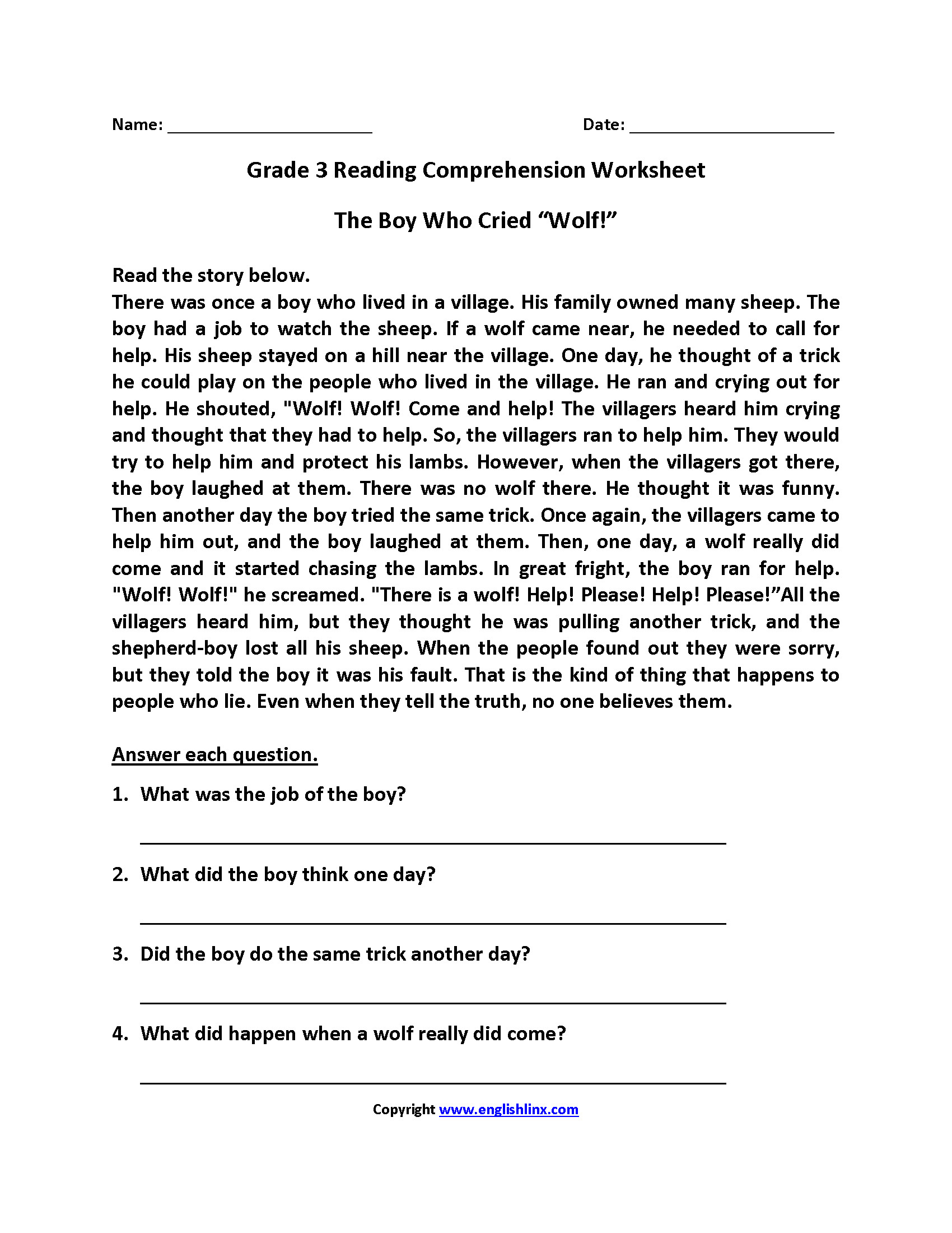 3 Reading Comprehension Worksheets Third Grade 3