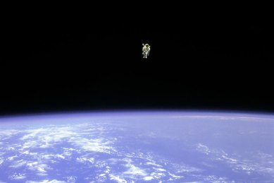 Credit: STS-41B, NASA  Explanation: At about 100 meters from the cargo bay of the space shuttle Challenger, Bruce McCandless II was farther out than anyone had ever been before. Guided by a Manned Maneuvering Unit (MMU), astronaut McCandless, pictured above, was floating free in space.