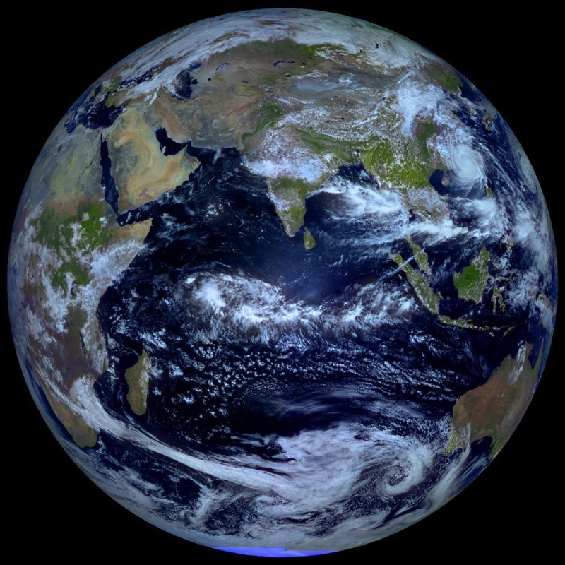 From Astronomy Picture of the Day: Earth at Equinox. From the Russian meteorological satellite Elektro-L