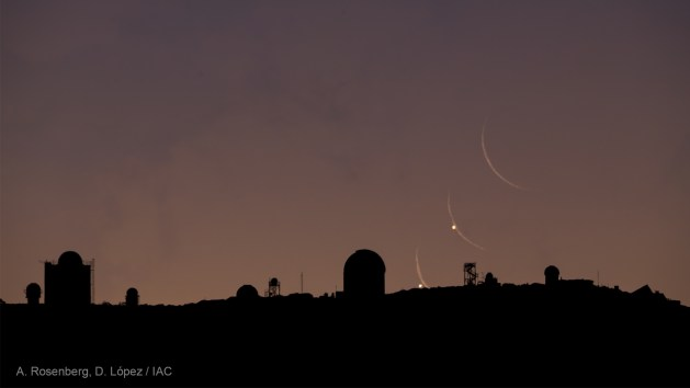 Venus and crescent moon over Tenerife observatory