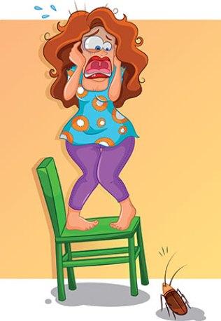 Απολυμανσεις Αλιμος - φοβισμένη κυρία από κατσαρίδα