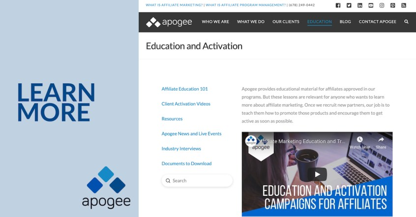 Education Update - Apogee Affiliate Program Management