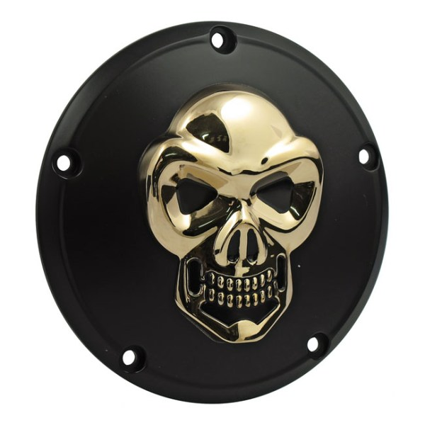 BLK & GOLD SKULL DERBY COVER 5-HOLE | 99-17 Dyna; 99-18 Softail (excl. 2018 FLSB); 99-15 Touring, Trike (excl. 2015 FLHTCUL, FLHTKL) (NU)
