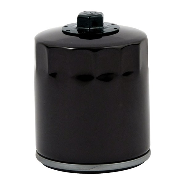 Spin-on oil filter, with top nut. Black | 1999 Softail; 99-17 Twin Cam; 17-21 M8