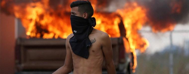 venezuela-crisis-border-clashes-masked-thugs-torched-aid-amp-fake-red-cross