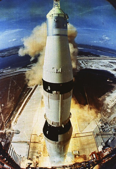 The Apollo 11 Saturn V rocket lifts off from Kennedy Space Centre July 16, 1969.