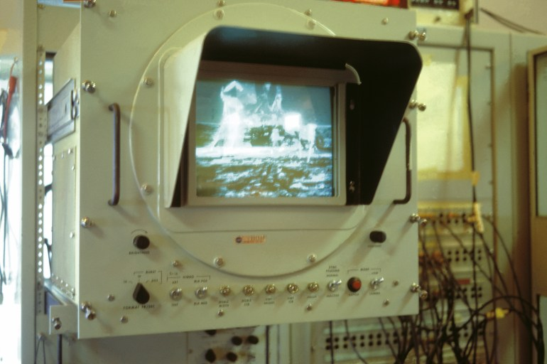 A monitor in the Parkes control room shows the historic moonwalk as it's received from the Moon