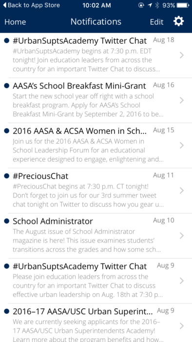 mobile apps non-profits via American Association of School Administrators community app