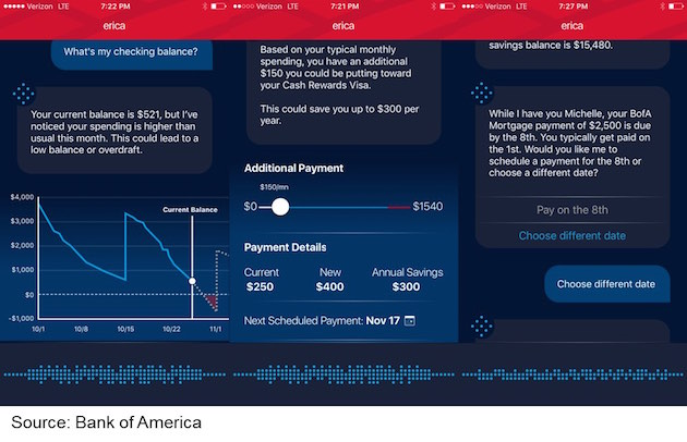 Screenshot of Bank of America's New Virtual Assistant Erica