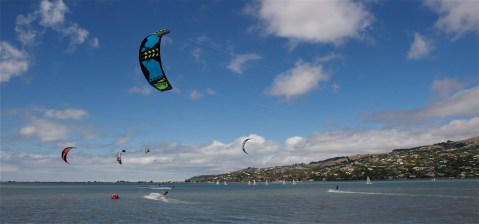 Christchurch Estuary With Wind Surfing