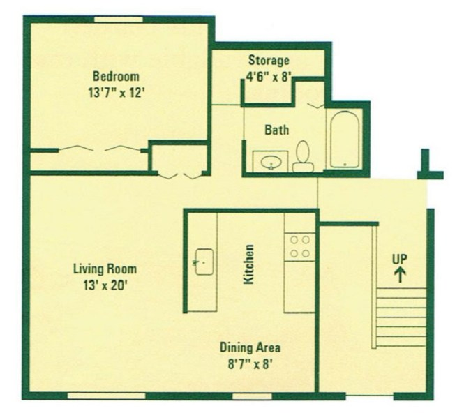 Floorplan Typical One Bedroom Apartment Image