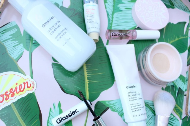 Skincare and makeup items from Glossier