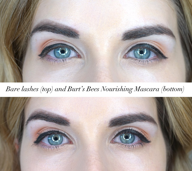 Before and after using the Burt's Bees Nourishing mascara