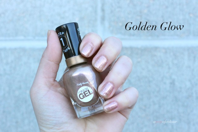 Sally Hansen Miracle Gel Pastel Punk collection, Golden Glow swatched