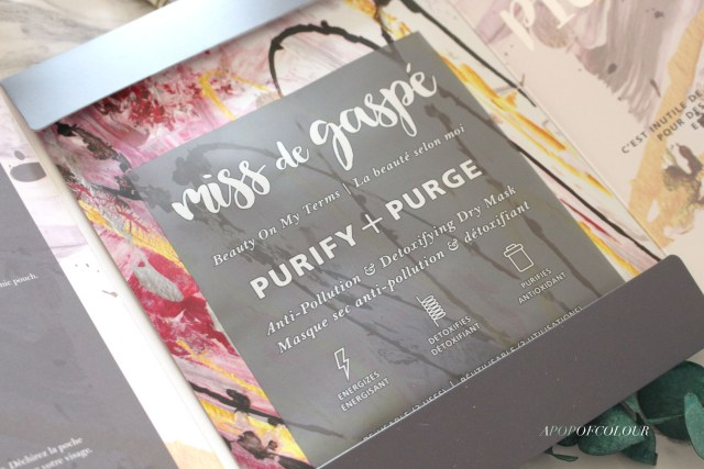 Miss de Gaspe Purify and Purge dry mask