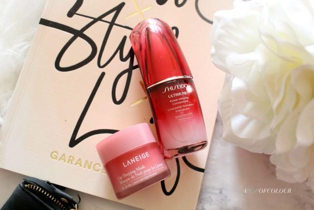 Shiseido Ultime serum and Rodial Lip Sleeping Mask