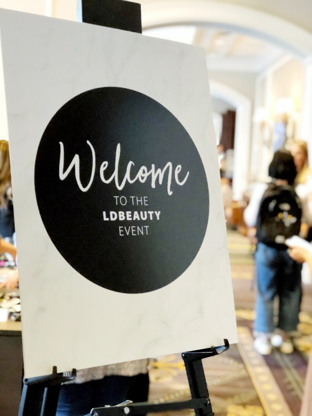 Welcome sign at LD Beauty 2018 in Whistler