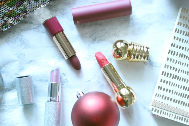 Dior Diorific Mat in Desirable, Lancome L'Absolu Rouge Drama Matte lipstick in Dramatic, and Lise Watier Neiges Sparkling Lipstick