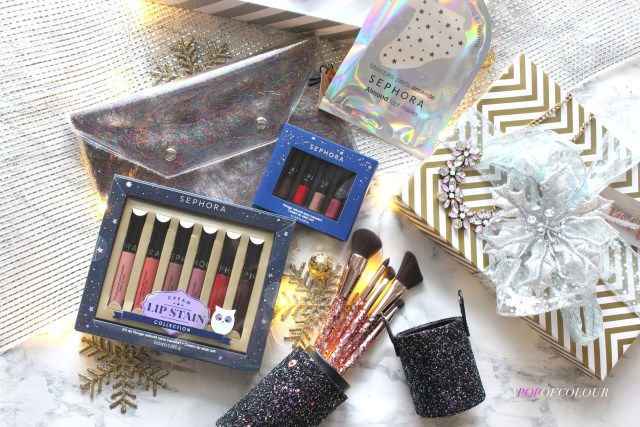 Sephora Collection Tinsel Time Clutch, Rising Star Canister Brush Set