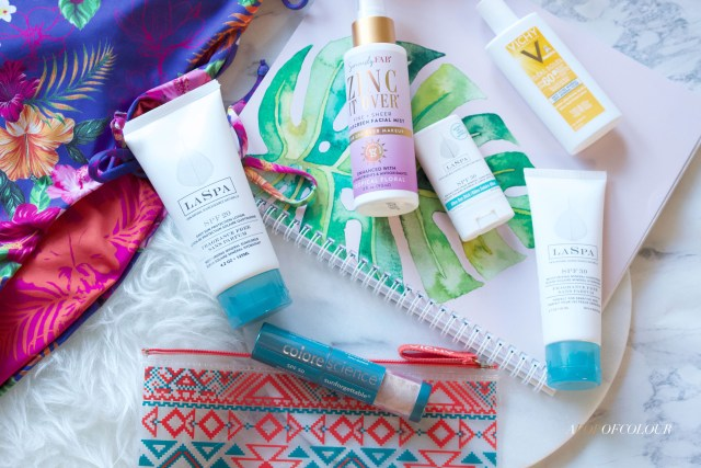 Sunscreen products from LASPA, Vichy, Color Sense, and Zinc it Up!
