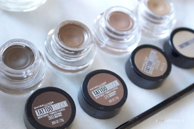 Maybelline Tattoo Studio Brow Pomade shades up close