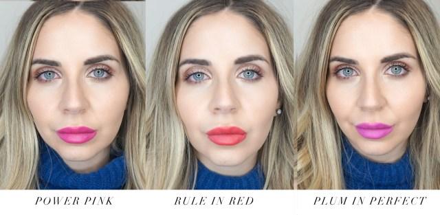 Swatches of Avon Be Bold lipsticks