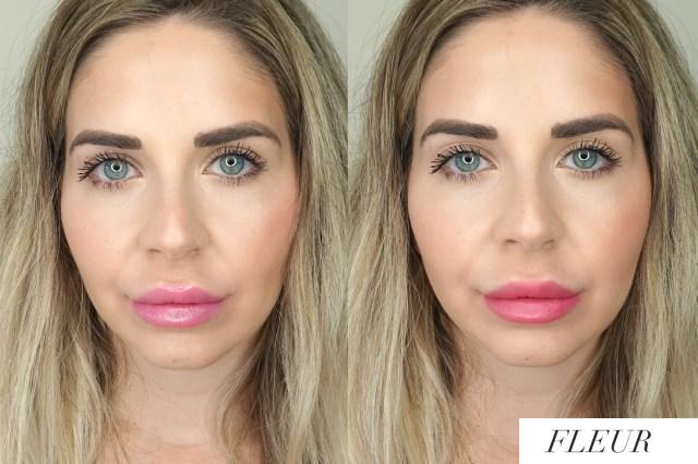 Arbonne Matte + Shine Lip Duo Fleur swatches