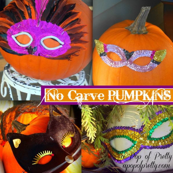 no carve pumpkin ideas - masked pumpkin