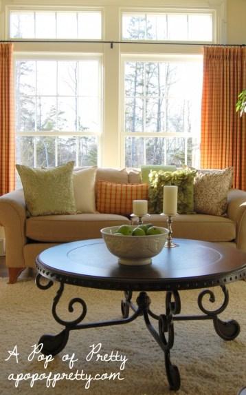cottage living room plaid drapes