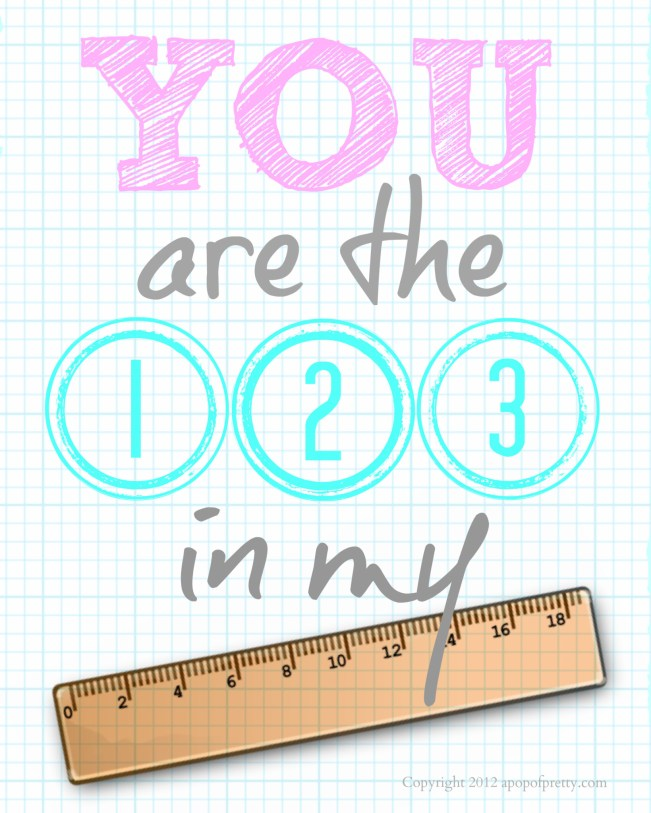 Gallery Wall Decor: You are the 123 in my ruler Pink and aqua