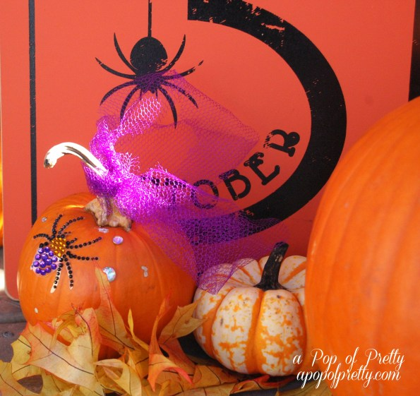 no carve pumpkin ideas - rhinestone embellished pumpkin