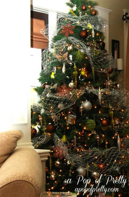 Christmas Tree Decorating Brown and Olive Green