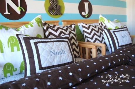 brown green aqua boys room