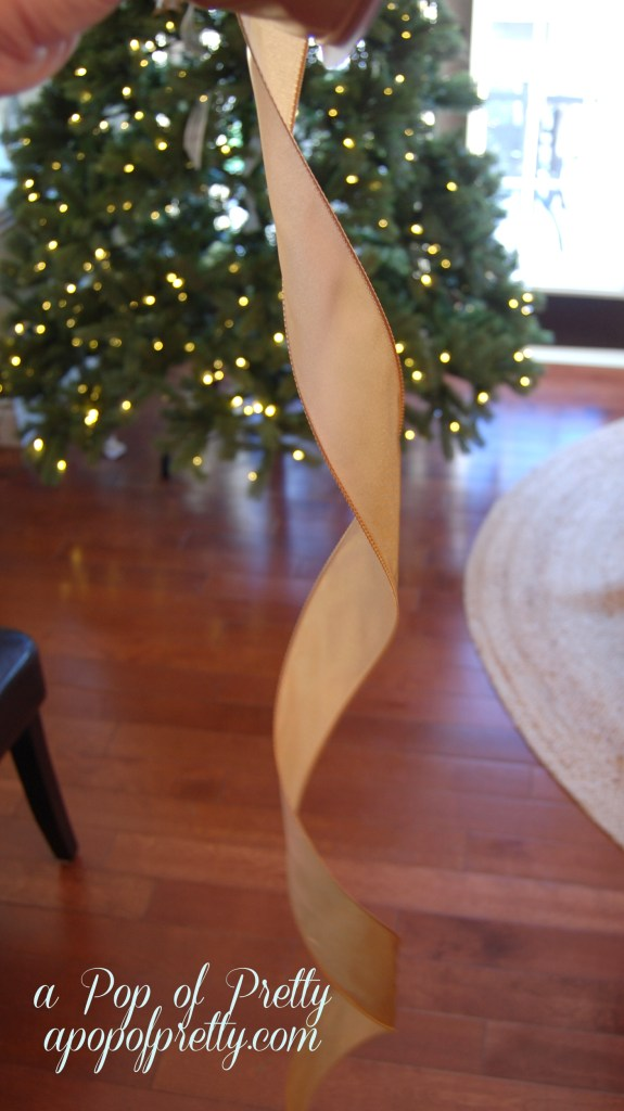 Add ribbon to a Christmas tree