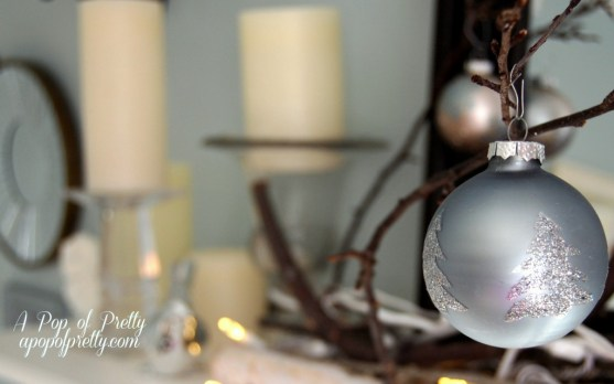 Christmas mantel decor with branches