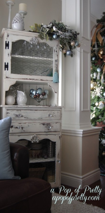 decorate a cabinet for Christmas