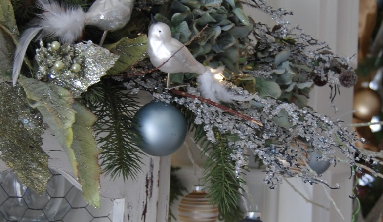 Cabinet-Top Christmas Display (Vignette): Floating Bulbs in Foliage
