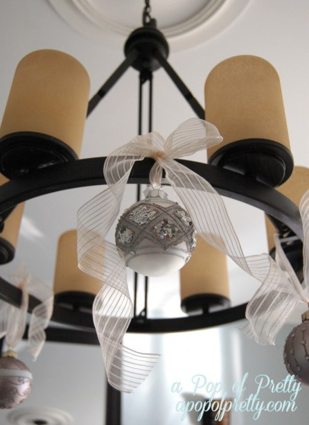 decorate a chandelier for Christmas