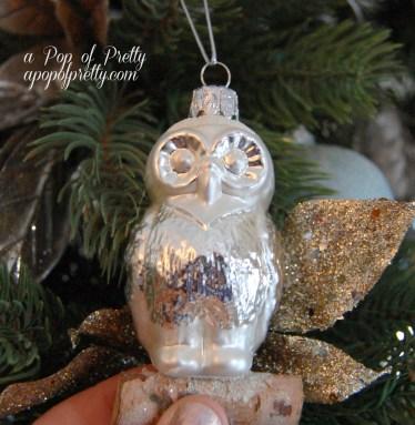 Mercury glass owl decoration