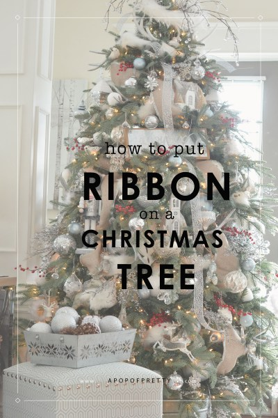 how to put ribbon on a Christmas tree  - a tutorial