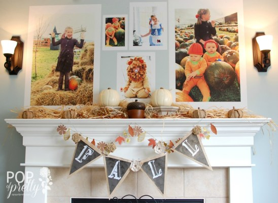 Fall mantel decor with giant peel and stick posters