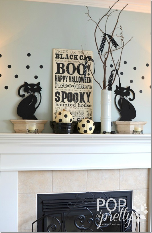 Halloween Decorating with black and white