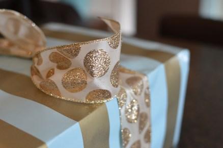 gold and white polka dot ribbon