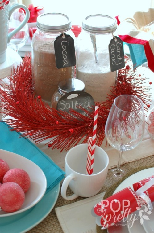 Christmas table hot chocolate station