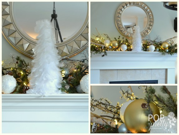 Gold and white Christmas - fireplace mantel
