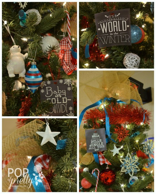 Red Turquoise Fundraiser Tree Christmas Tree Decorating Ideas A Pop Of Pretty