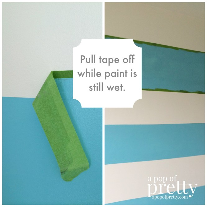 how to paint wall stripes - pull tape off